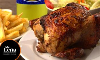 1 Pollo a la leña + papas fritas + ensalada + gaseosa para llevar o delivery