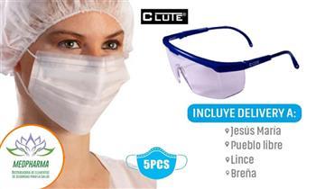 Gafas protectoras Clute + mascarillas ¡Elige modelo con Medpharma! ¡Incluye delivery!