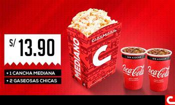 Cinemark: Cancha mediana + 2 gaseosas chicas (Muestra el cupón desde tu celular)