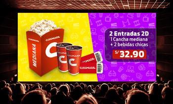 Cinemark: 2 Entradas 2D + cancha mediana + 2 gaseosas. Muestra el cupón desde el móvil.