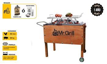 Caja china CHICA mixta marrón + parrilla niquelada + carbón o sal de Grill Store.