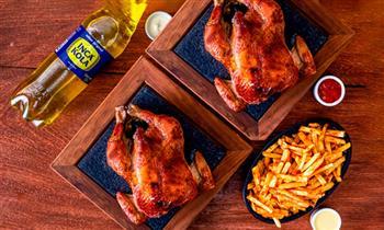 ¡Recoge ya! 2 pollos a la brasa + papas fritas familiares + gaseosa. ¡Riquísimo!