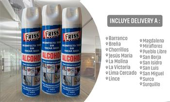 3 Latas de Alcohol en aerosol limpia superficies + delivery
