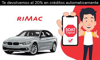 SOAT DIGITAL RIMAC. Te devolvemos el 20%. Válido para particulares, taxi y carga.