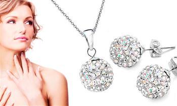 Set Shamballa en plata con incrustaciones de cristales swarosvky y más