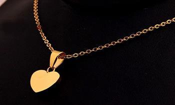 Miraflores: Delicado collar con dije de corazón enchapado oro 18KL.