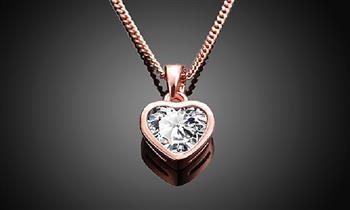 Miraflores: Collar de corazón enchapado en oro rosa