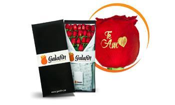 Miraflores: caja de 12 o 18 rosas con 3 rosas estampadas