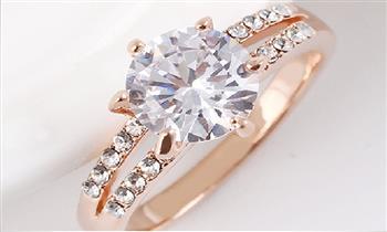 Miraflores: Hermoso anillo Pamela bañado en oro rosa de 18KL y zircón.