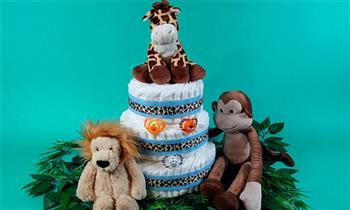 Jesús María:Torta de pañales de 3 pisos para niña o niño personalizada