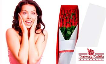 Delivery: 6 o 12 Rosas rojas perfumadas en ramo o caja + tarjeta + globo