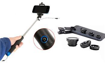 Kit selfie stick + lentes ojo de pez, gran angular y macro 3 en 1.